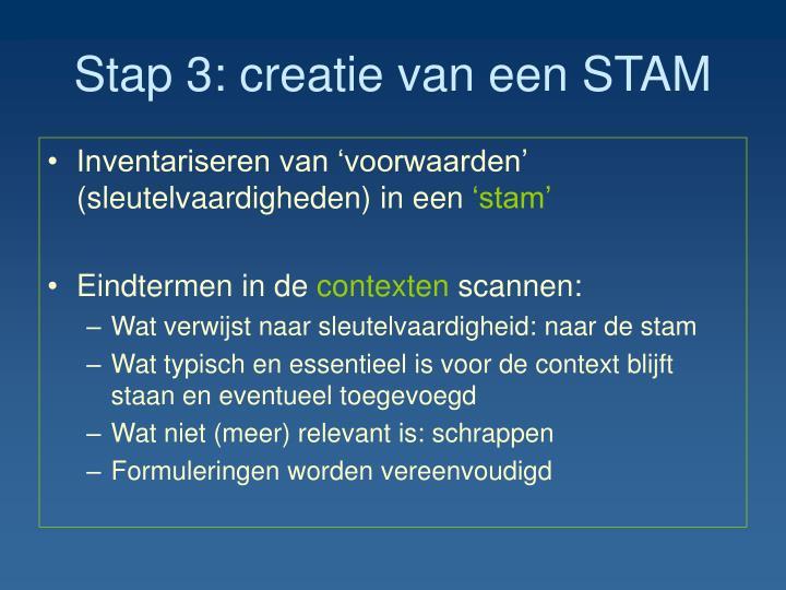 Stap 3: creatie van een STAM