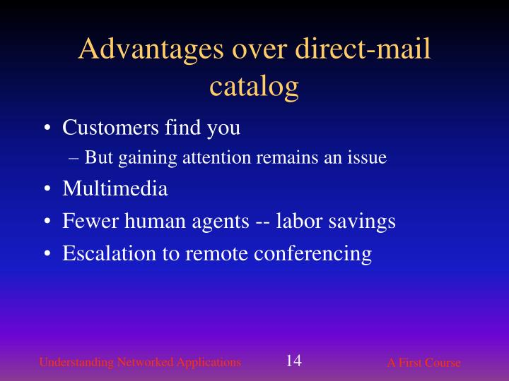 Advantages over direct-mail catalog