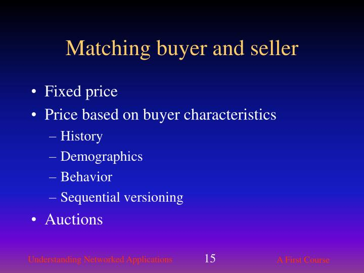 Matching buyer and seller
