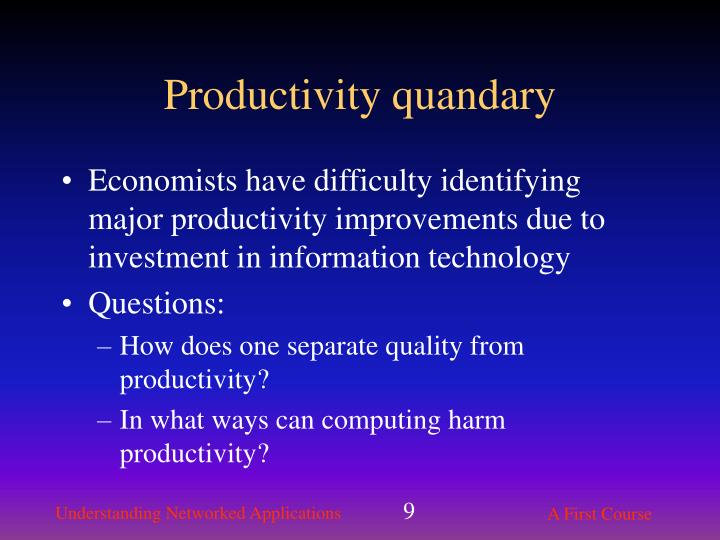 Productivity quandary
