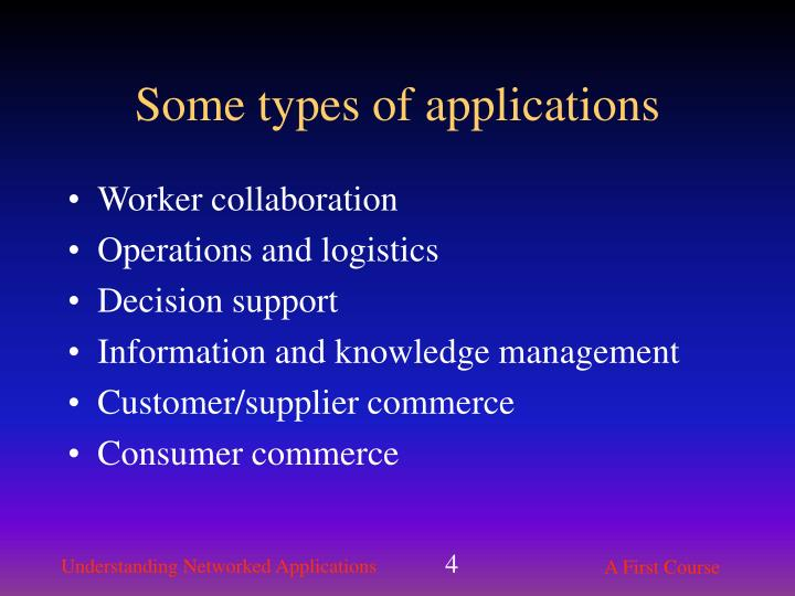 Some types of applications