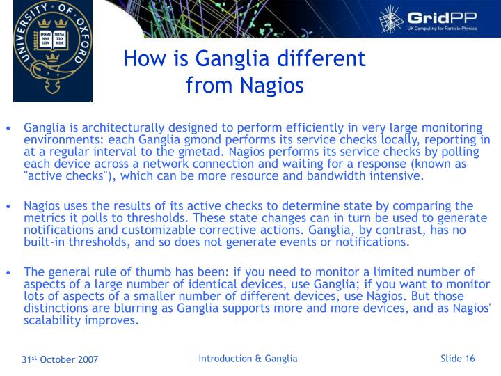 How is Ganglia different from Nagios