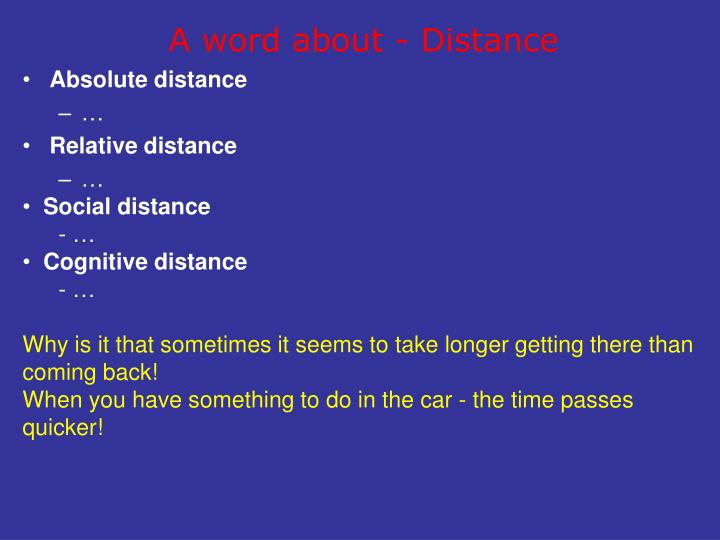 A word about - Distance
