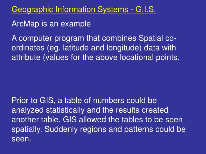 Geographic Information Systems - G.I.S.