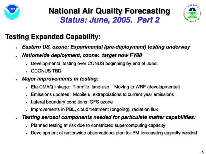 National Air Quality Forecasting