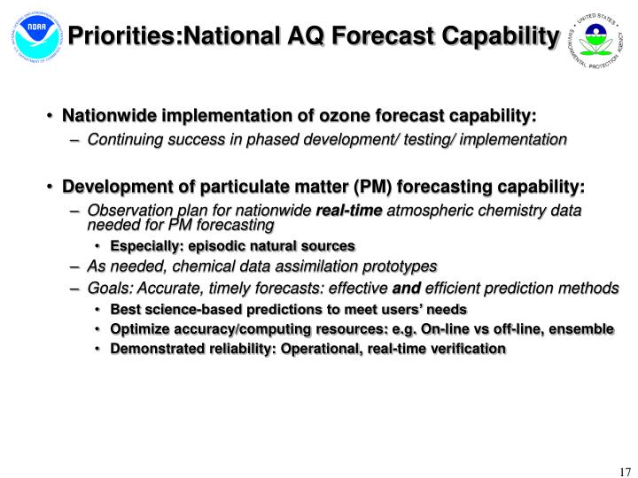 Priorities:National AQ Forecast Capability