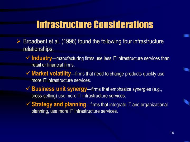Infrastructure Considerations