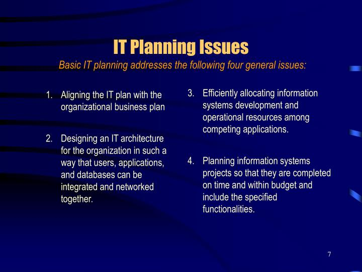 Aligning the IT plan with the organizational business plan