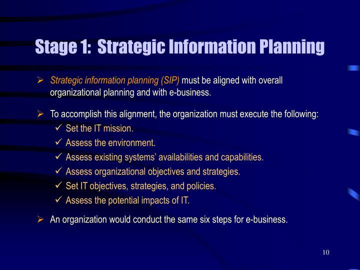Stage 1:  Strategic Information Planning