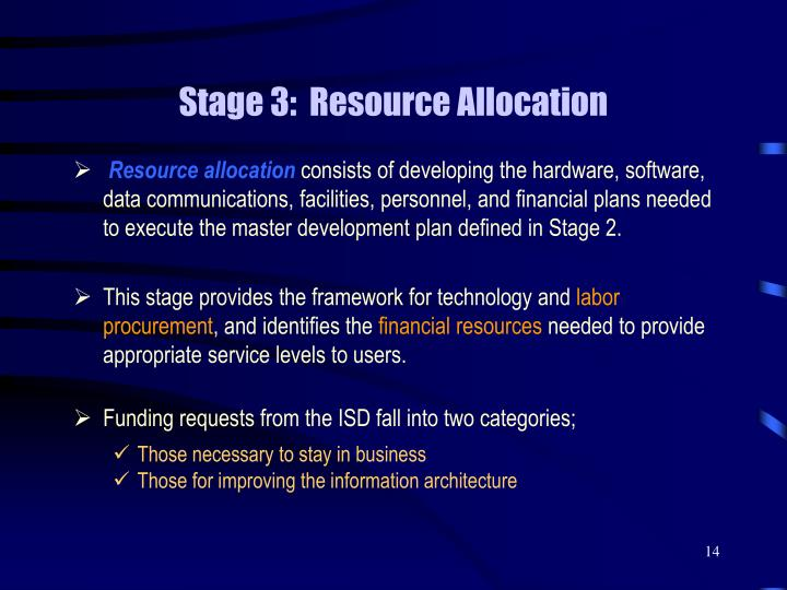 Stage 3:  Resource Allocation