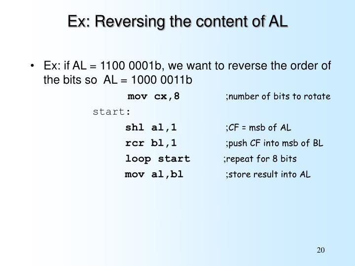 Ex: Reversing the content of AL