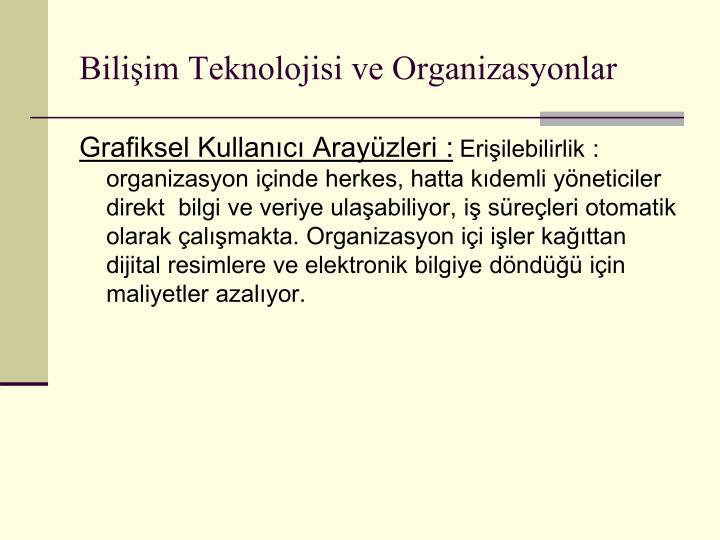 Bilişim Teknolojisi ve Organizasyonlar