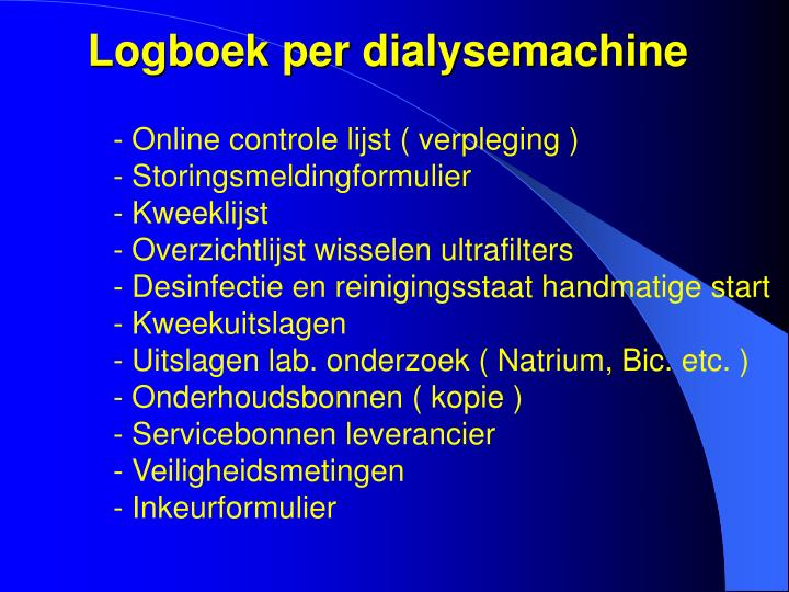 Logboek per dialysemachine
