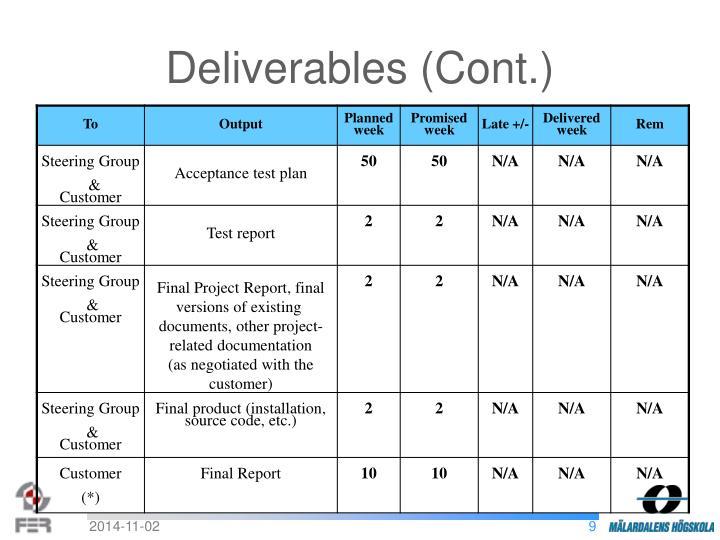 Deliverables (Cont.)