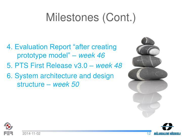 Milestones (Cont.)