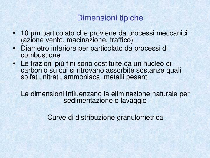 Dimensioni tipiche