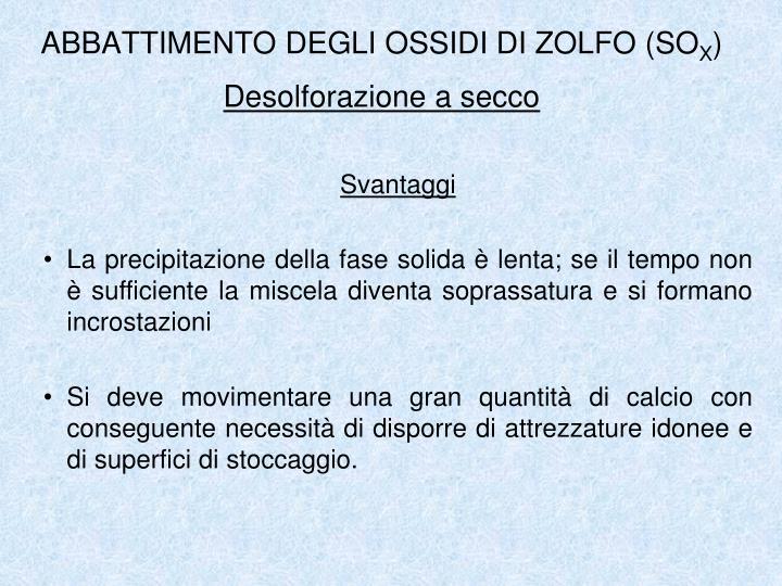 ABBATTIMENTO DEGLI OSSIDI DI ZOLFO (SO