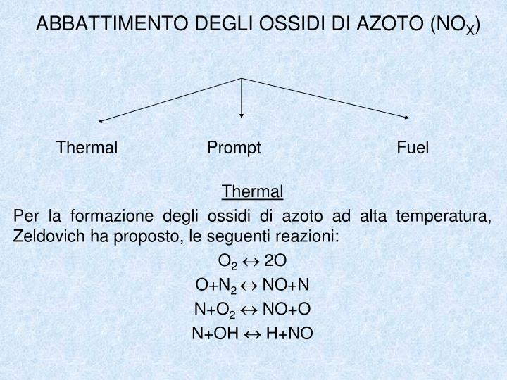 ABBATTIMENTO DEGLI OSSIDI DI AZOTO (NO