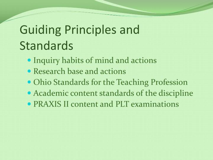 Guiding Principles and Standards
