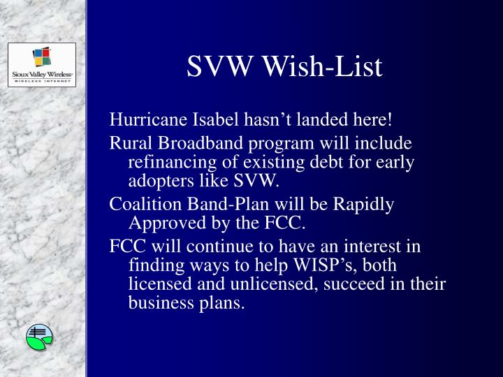 SVW Wish-List