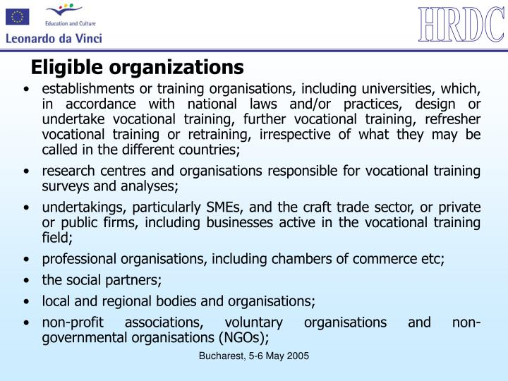 Eligible organizations