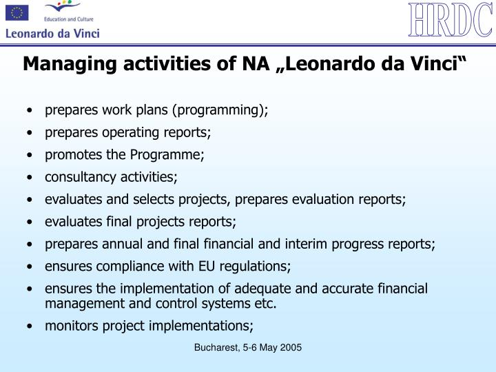 "Managing activities of NA ""Leonardo da Vinci"""