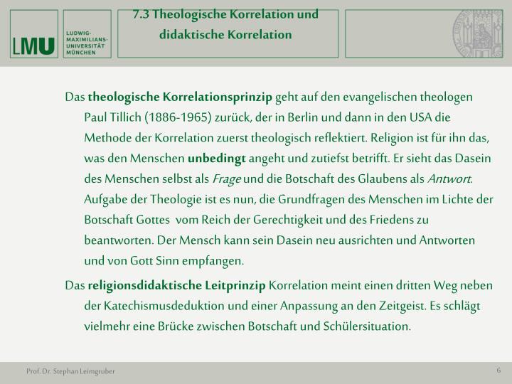 7.3 Theologische Korrelation und didaktische Korrelation