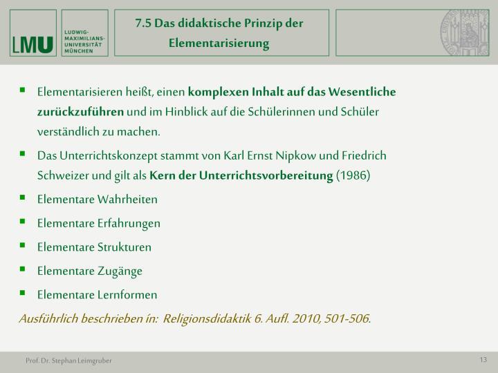 7.5 Das didaktische Prinzip der Elementarisierung