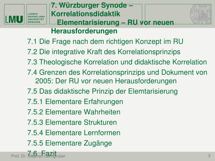 7. Würzburger Synode – Korrelationsdidaktik