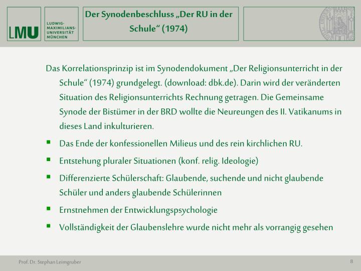 """Der Synodenbeschluss """"Der RU in der Schule"""" (1974)"""