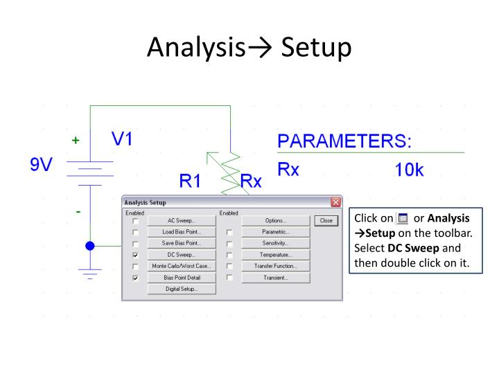 Analysis→ Setup