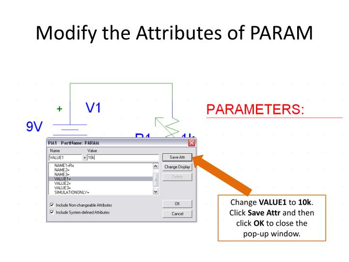 Modify the Attributes of PARAM