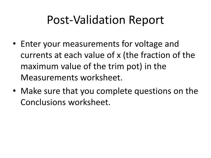 Post-Validation Report
