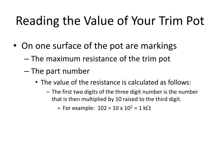 Reading the Value of Your Trim Pot