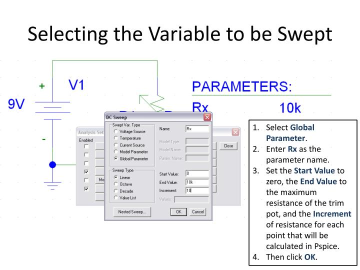Selecting the Variable to be Swept
