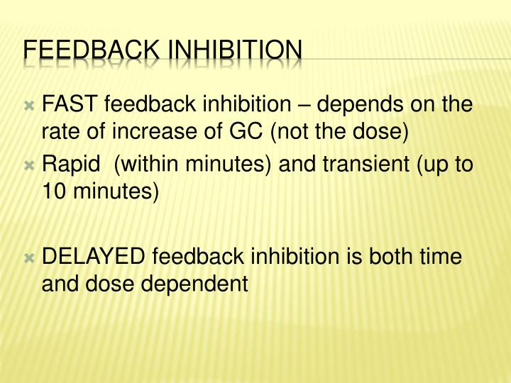FAST feedback inhibition – depends on the rate of increase of GC (not the dose)