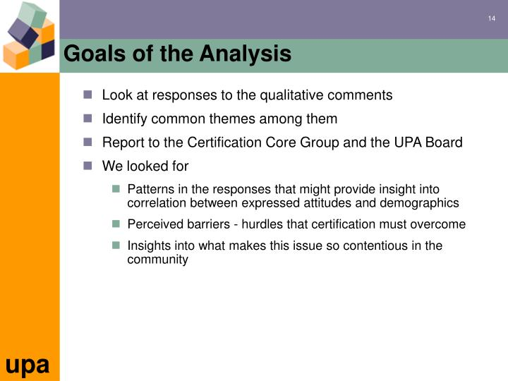 Goals of the Analysis