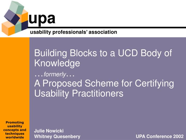 Building Blocks to a UCD Body of Knowledge