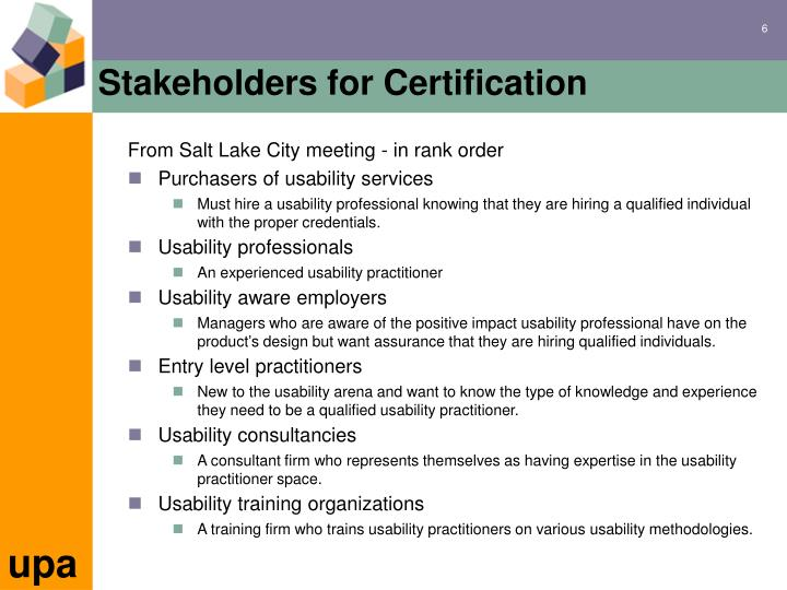Stakeholders for Certification