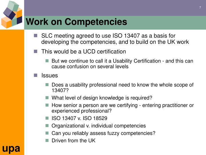 Work on Competencies