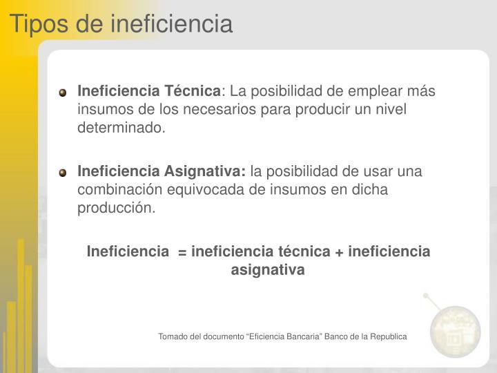 Tipos de ineficiencia