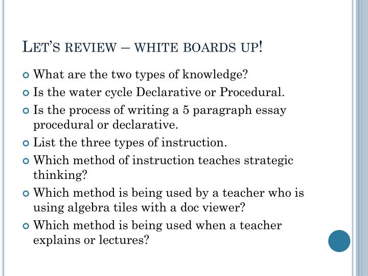 Let's review – white boards up!