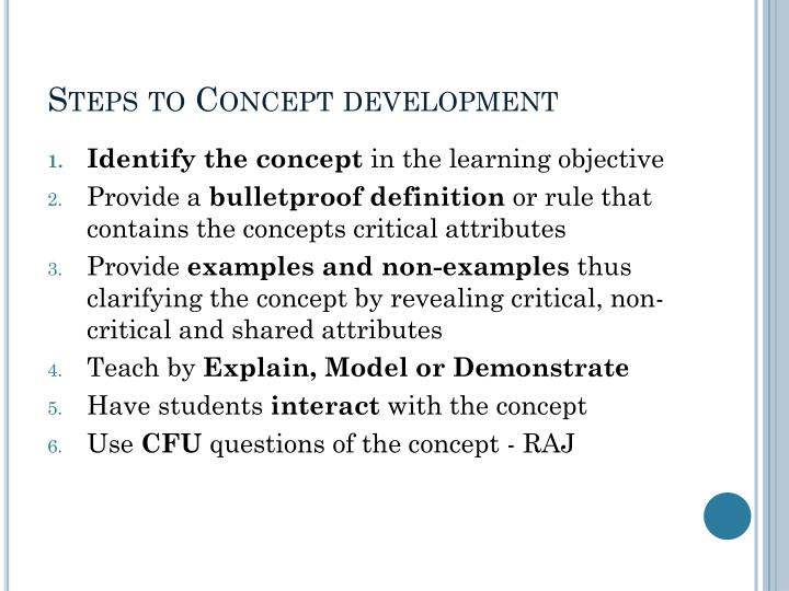Steps to Concept development