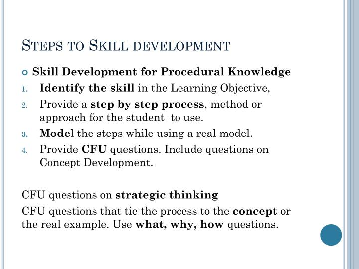 Steps to Skill development