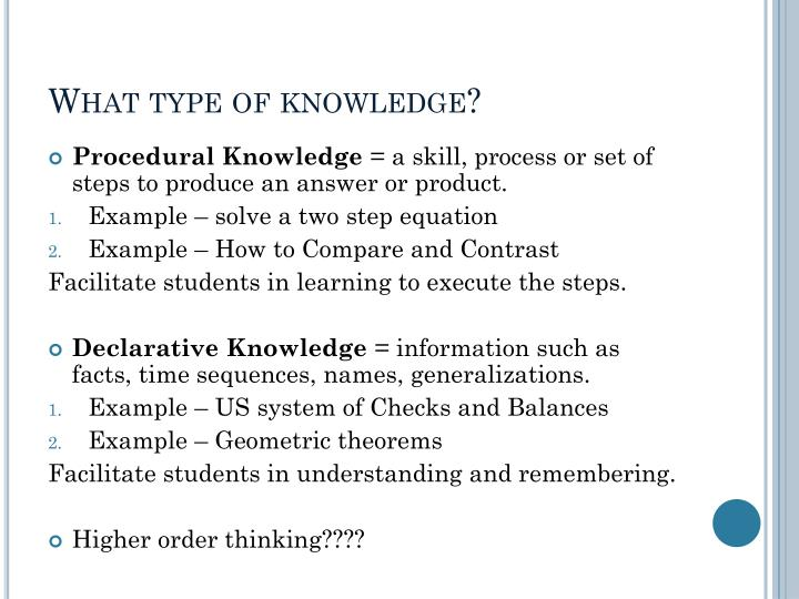 What type of knowledge?