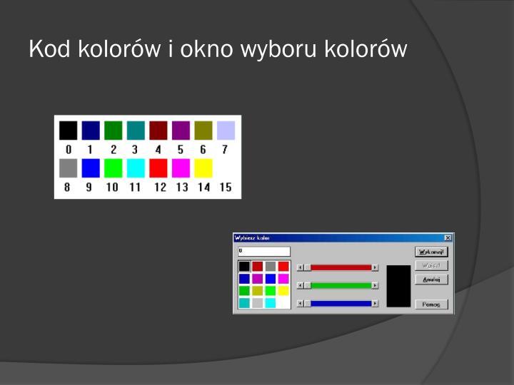 Kod kolorów i okno wyboru kolorów