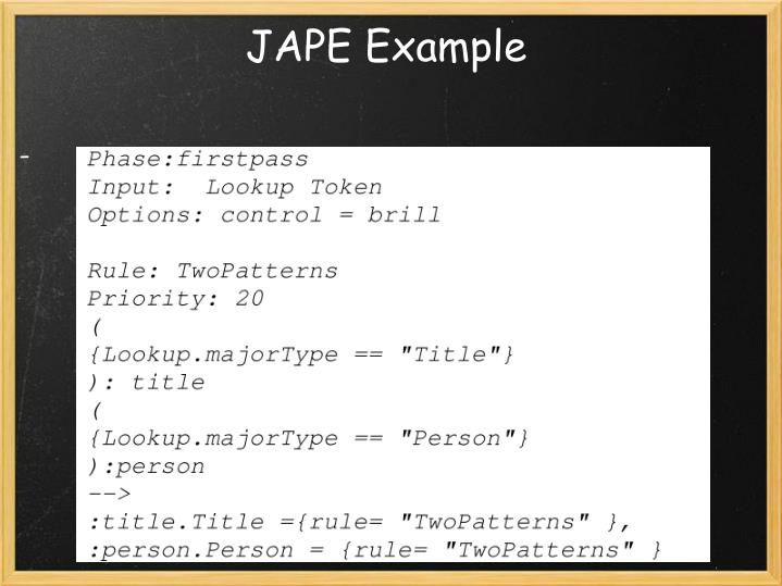 JAPE Example