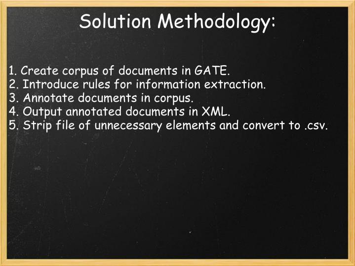 Solution Methodology: