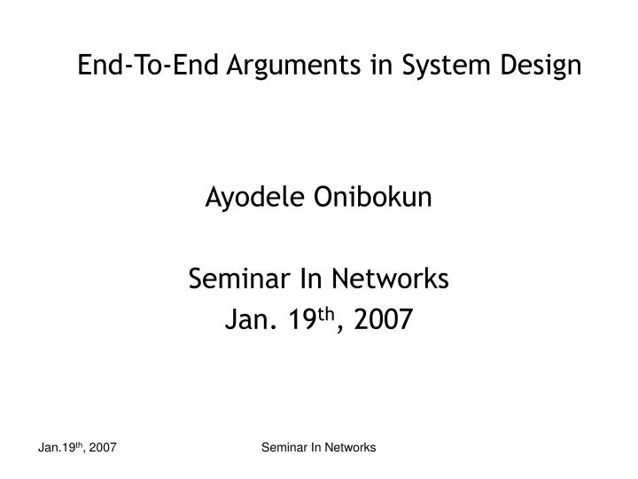 End to end arguments in system design