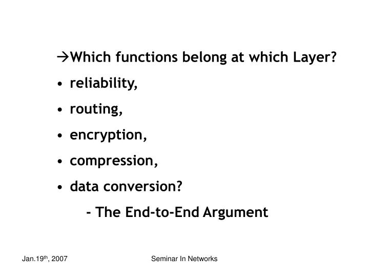 Which functions belong at which Layer?